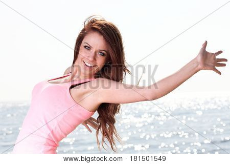 Woman Happy Smiling Joyful Beautiful Young Cheerful Caucasian Female Model