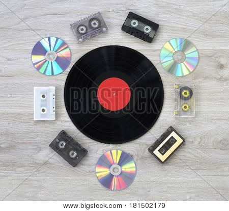 Retro, vinyl record disc, audio cassette and cd close up image