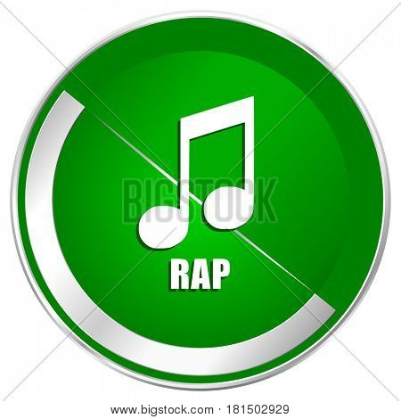 Rap music silver metallic border green web icon for mobile apps and internet.