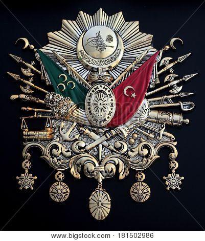 Ottoman Empire Emblem, ( Old Turkish Symbol ) , isolated on black background.