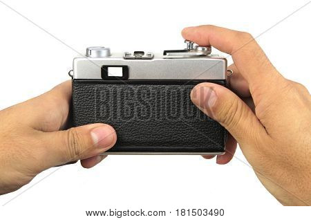 Retro camera from back view, isolated on white background