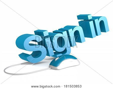 Sign In Word With Blue Mouse