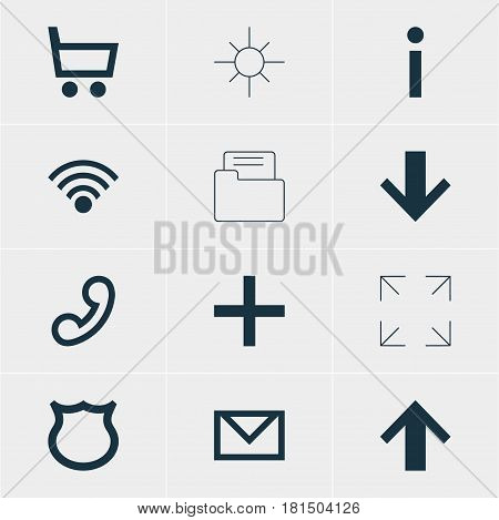 Vector Illustration Of 12 Interface Icons. Editable Pack Of Wheelbarrow, Downward, Top And Other Elements.