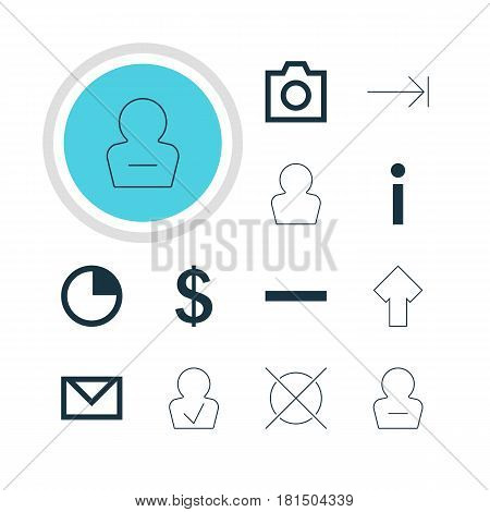 Vector Illustration Of 12 Interface Icons. Editable Pack Of Letter, Stopwatch, Info And Other Elements.