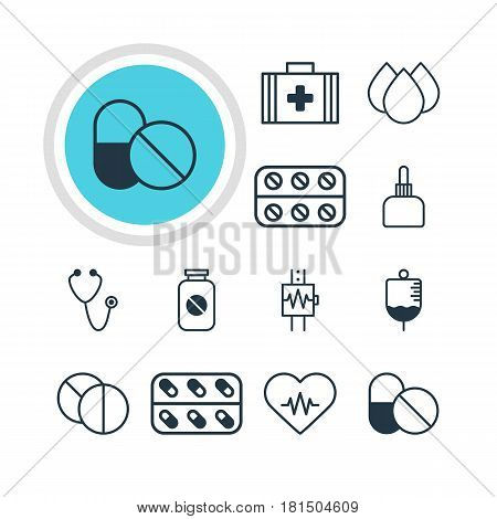 Vector Illustration Of 12 Medicine Icons. Editable Pack Of Medicament Pitcher, Trickle, Pulse And Other Elements.