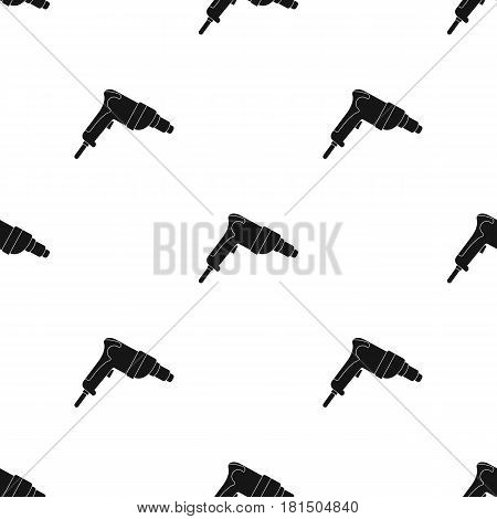 Drill icon in black style isolated on white background. Build and repair pattern vector illustration.