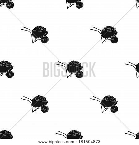 Wheelbarrow icon in black style isolated on white background. Build and repair pattern vector illustration.