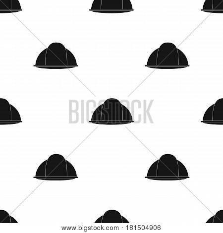 Construction helmet icon in black style isolated on white background. Build and repair pattern vector illustration.
