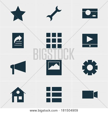 Vector Illustration Of 12 Web Icons. Editable Pack Of Document Transfer, Capture, Bookmark And Other Elements.