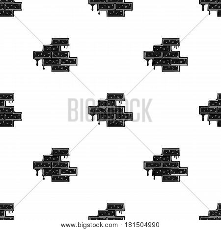 Brick wall icon in black style isolated on white background. Build and repair pattern vector illustration.