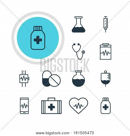 Vector Illustration Of 12 Medicine Icons. Editable Pack Of Flask, Pulse, Heart Rhythm And Other Elements.