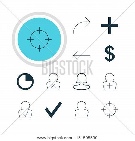 Vector Illustration Of 12 User Icons. Editable Pack Of Approved Profile, Stopwatch, Accsess And Other Elements.