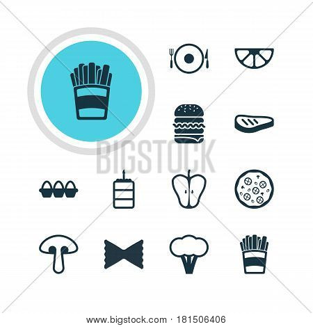 Vector Illustration Of 12 Meal Icons. Editable Pack Of Pizzeria, Lime, Cotton And Other Elements.