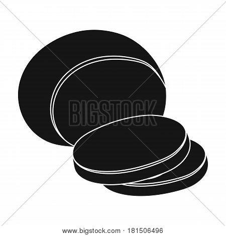 Mozzarella.Different kinds of cheese single icon in black style vector symbol stock illustration .