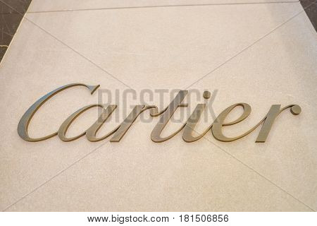 HONG KONG - CIRCA NOVEMBER, 2016: close up shot of Cartier sign. Societe Cartier is a French luxury goods conglomerate company.