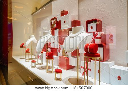 HONG KONG - CIRCA NOVEMBER, 2016: a display window in a Cartier store. Societe Cartier is a French luxury goods conglomerate company.