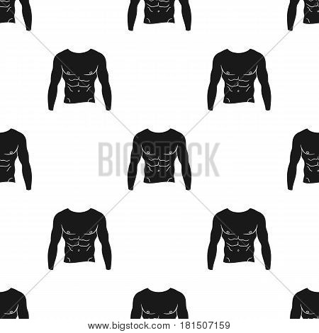 Muscular torso icon in black style isolated on white background. Sport and fitness pattern vector illustration.