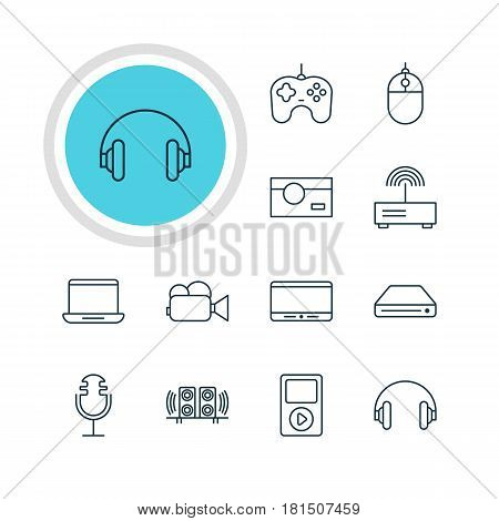 Vector Illustration Of 12 Gadget Icons. Editable Pack Of Monitor, Modem, Memory Storage And Other Elements.