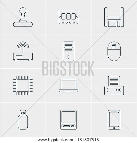 Vector Illustration Of 12 Notebook Icons. Editable Pack Of Cursor Manipulator, Diskette, Pda And Other Elements.