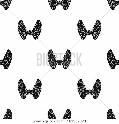 Human thyroid icon in black style isolated on white background. Human organs pattern vector illustration.