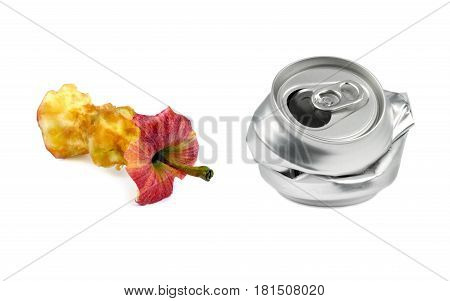 Garbage. Bitten apple and crushed drink can isolated on white background