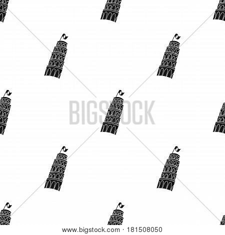 Tower of Pisa in Italy icon in black style isolated on white background. Italy country pattern vector illustration.