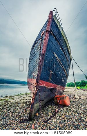 Rusty Shipwreck On Shore In Fort William In Summer, Scotland