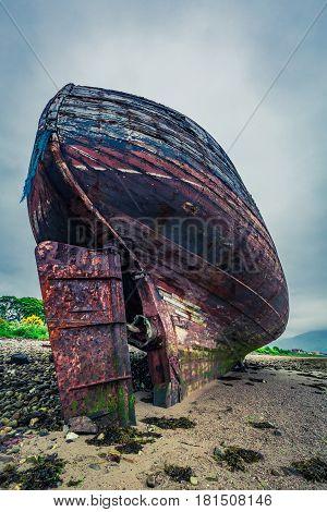Abandoned Shipwreck On Shore In Fort William, Scotland, United Kingdom