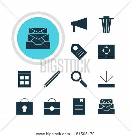 Vector Illustration Of 12 Web Icons. Editable Pack Of Portfolio, Messages, Bullhorn And Other Elements.