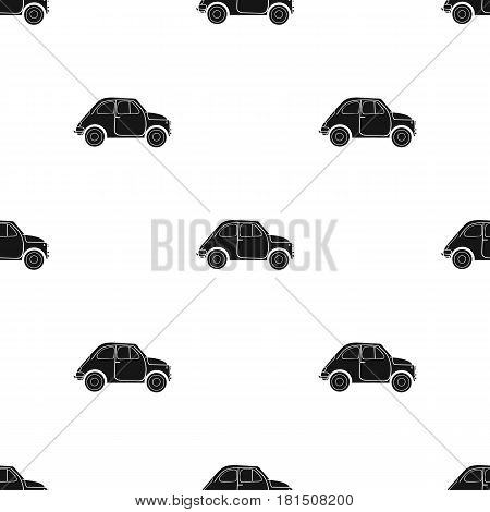 Italian retro car from Italy icon in black style isolated on white background. Italy country pattern vector illustration.