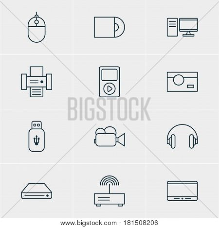 Vector Illustration Of 12 Gadget Icons. Editable Pack Of Modem, PC, Headset And Other Elements.