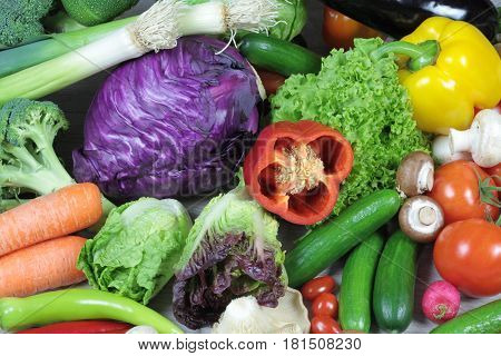 Fresh colorful vegetables close up image .