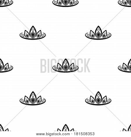 Diadem icon in black style isolated on white background. Jewelry and accessories pattern vector illustration.