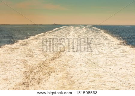 Trail On The Water After The Ferry Sail