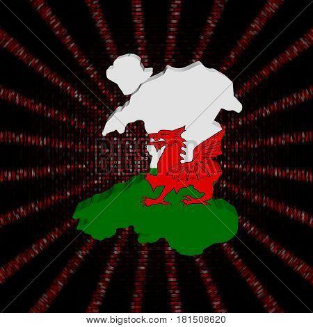 Wales map flag on red hex code burst 3d illustration