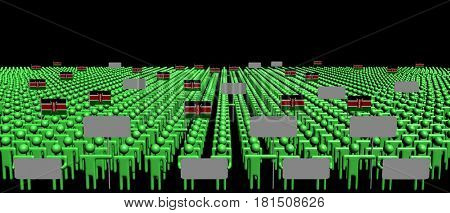 Crowd of people with signs and Kenyan flags 3d illustration