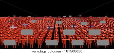 Crowd of people with signs and Norwegian flags 3d illustration