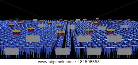 Crowd of people with signs and Venezuelan flags 3d illustration