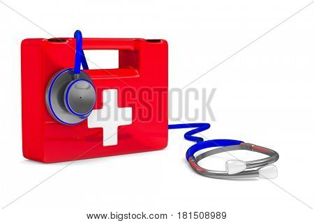 Stethoscope and first aid on white background. Isolated 3D illustration