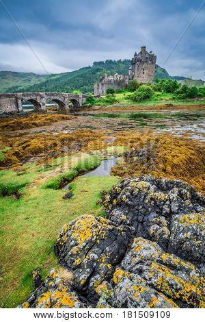 Beautiful Dusk Over Loch At Eilean Donan Castle In Scotland