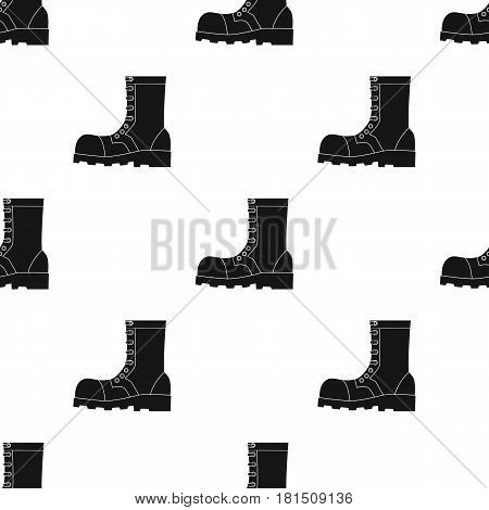 Army combat boots icon in black style isolated on white background. Military and army pattern vector illustration