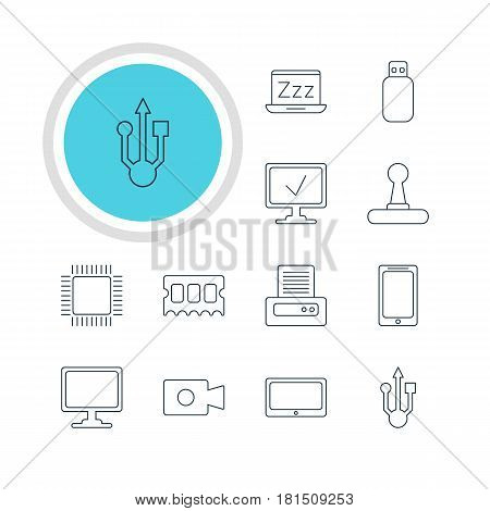 Vector Illustration Of 12 Laptop Icons. Editable Pack Of Movie Cam, Online Computer, Tablet And Other Elements.