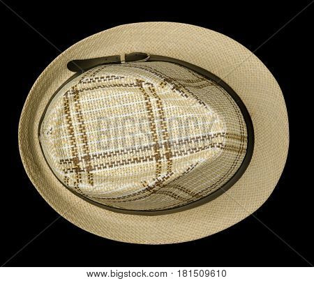 Beach Hat Isolated On Black Background .beach Hat Top View .beach Hat With Brim