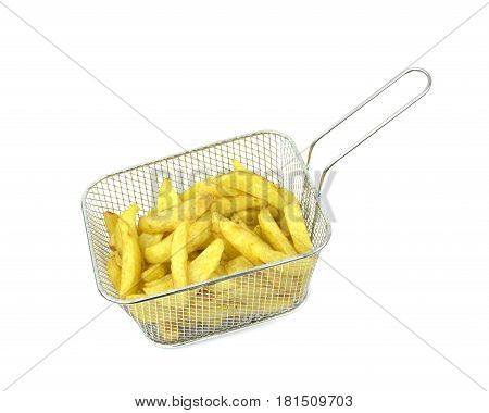Fried potatoes in deep fryer on white background