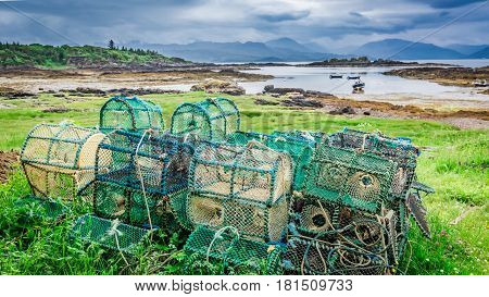 Colored Cage For Lobster On Shore, Scotland, United Kingdom