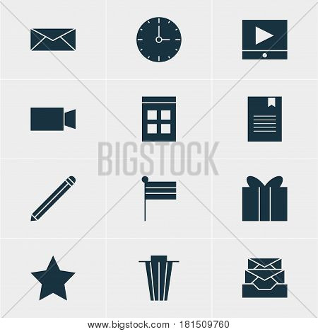 Vector Illustration Of 12 Internet Icons. Editable Pack Of Pen, Video Camera, Trash And Other Elements.