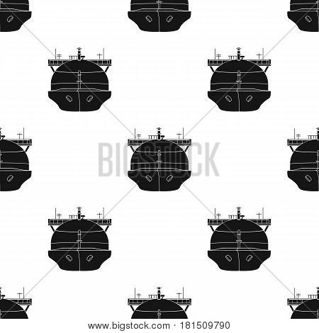 Oil tanker icon in black style isolated on white background. Oil industry pattern vector illustration.