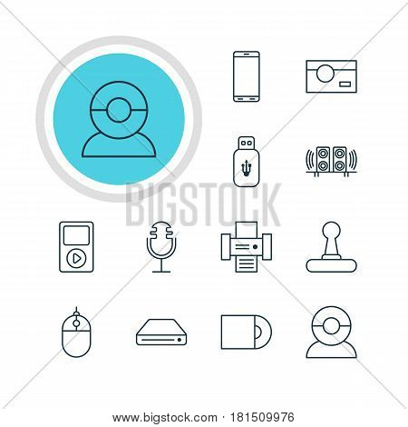 Vector Illustration Of 12 Device Icons. Editable Pack Of Usb Card, Cursor Controller, Photography And Other Elements.