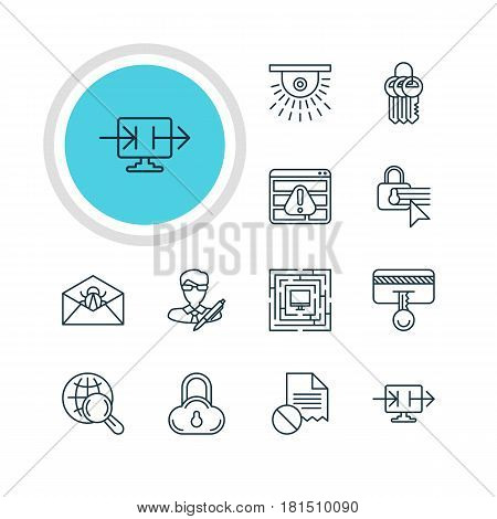 Vector Illustration Of 12 Protection Icons. Editable Pack Of System Security, Copyright, Safety Key And Other Elements.