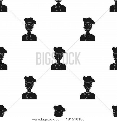 Chef icon in black style isolated on white background. Pizza and pizzeria pattern vector illustration.